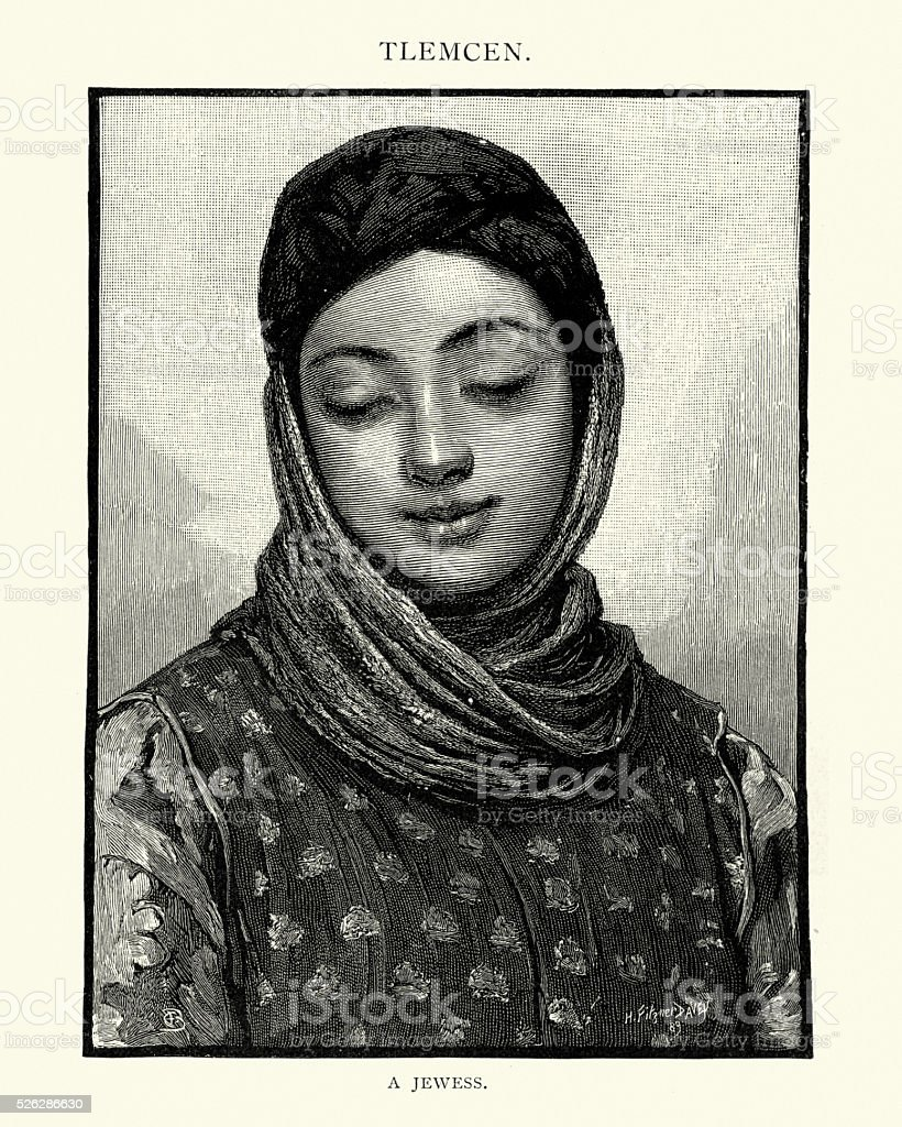 Jewish woman of Tlemcen, Algeria, 19th Century vector art illustration