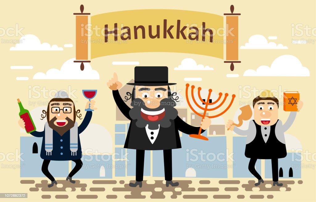Jews Men celebrating Jewish holiday Hanukkah. Greeting card, Happy...