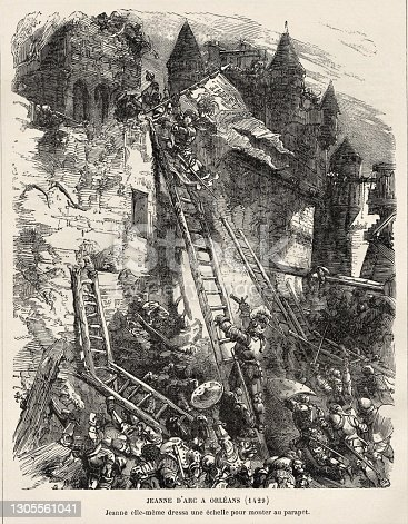 Joan of Arc climbs a ladder over a wall at Orleans in a French victory against the English in 1429 during the Hundred Years' War. French, English, and European History. Illustration published in Cent Recits: D'Histoire De France by Gustave DuCourdray (Librairie Hachette, Paris) in 1887.