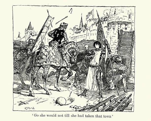 ジャンヌダルク花輪 seige の街 15世紀頃のベクターアート素材や画像を