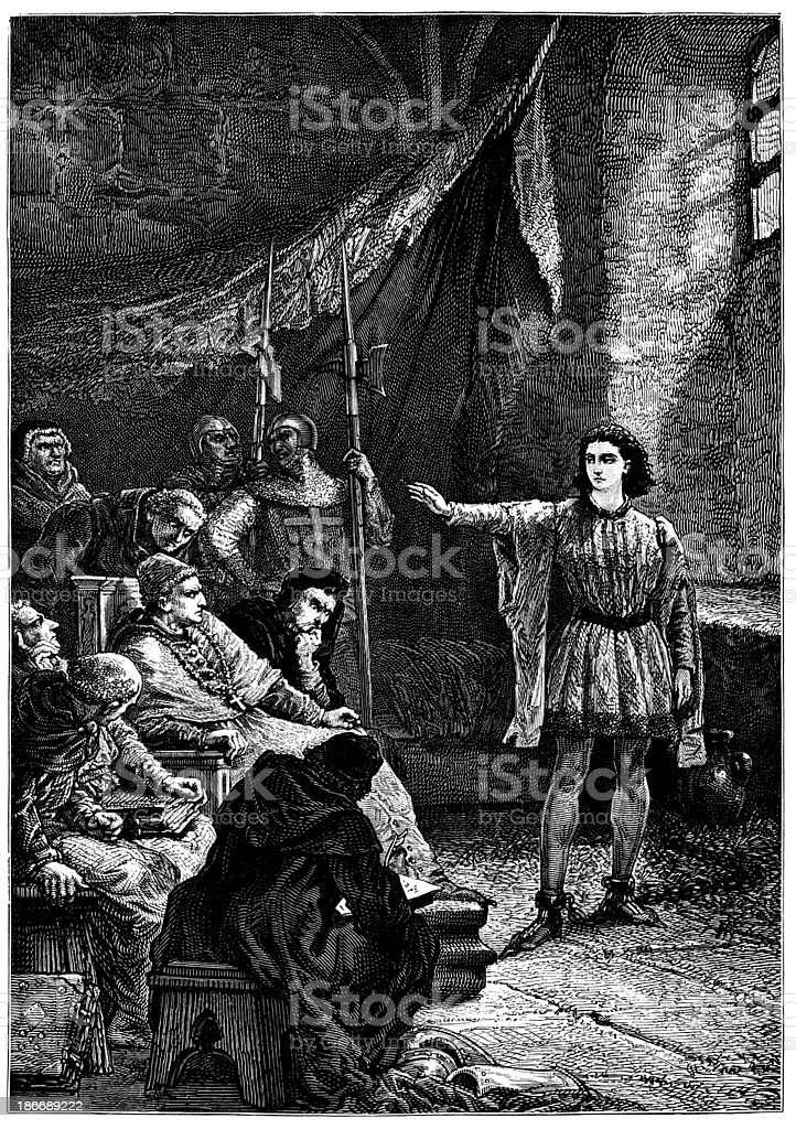 Joan Of Arc On Trial royalty-free joan of arc on trial stock vector art & more images of 19th century