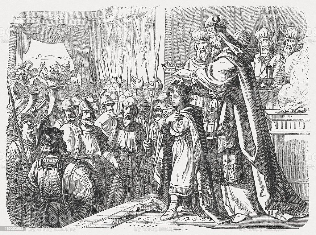 Joash's coronation (2 Chronicles 24), wood engraving, published in 1877 royalty-free joashs coronation wood engraving published in 1877 stock vector art & more images of art