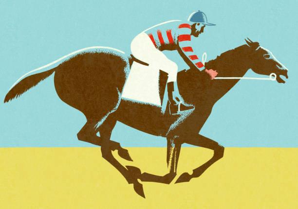 jockey riding horse - horse racing stock illustrations