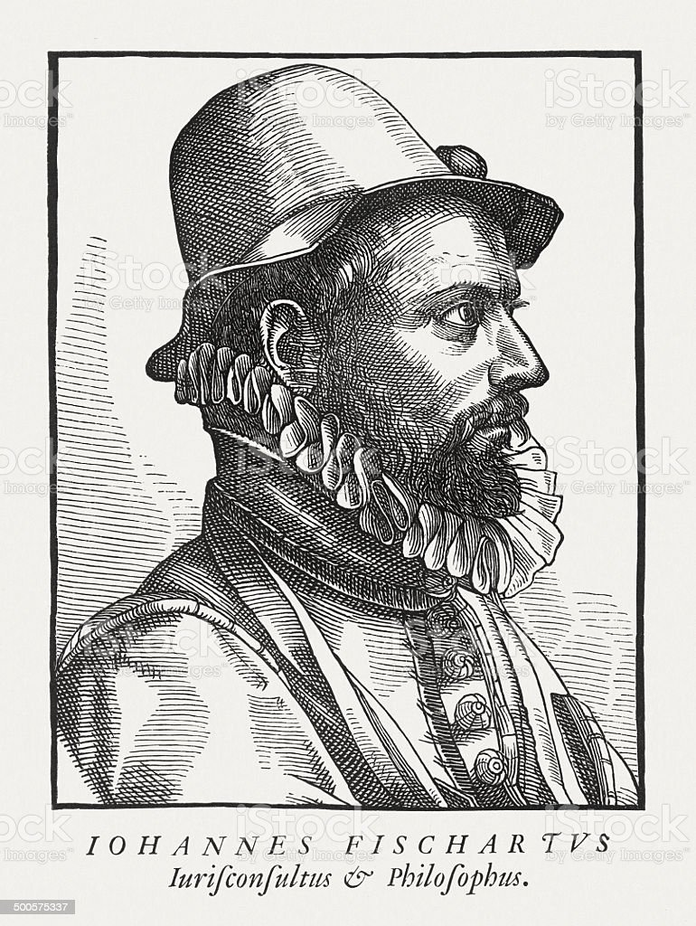 Johann Baptist Fischart (1546/47-1591), German writer, wood engraving, published 1882 royalty-free stock vector art