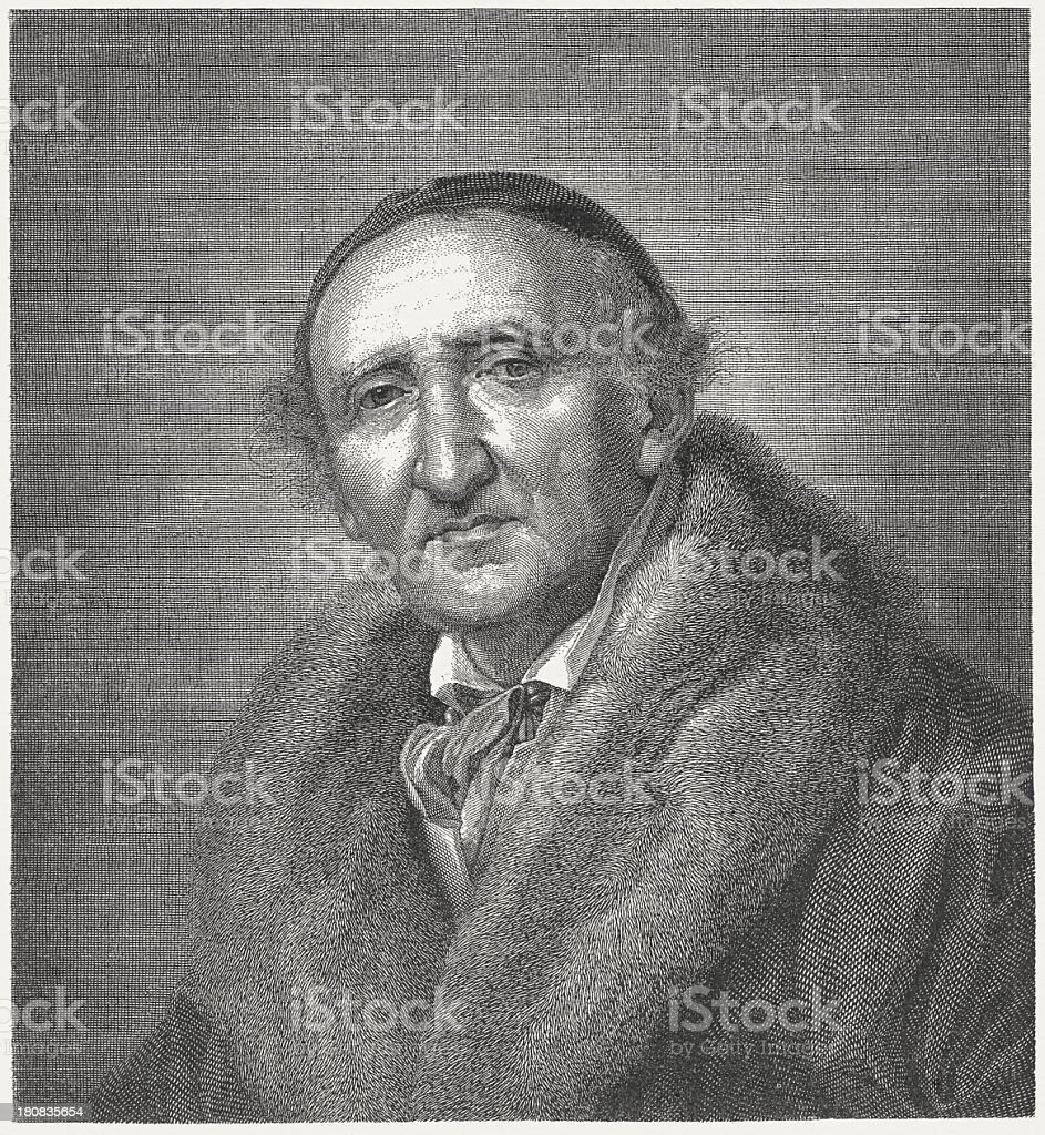Johann Gottfried Schadow (1764-1850), German sculptor, wood engraving, published 1882 royalty-free stock vector art