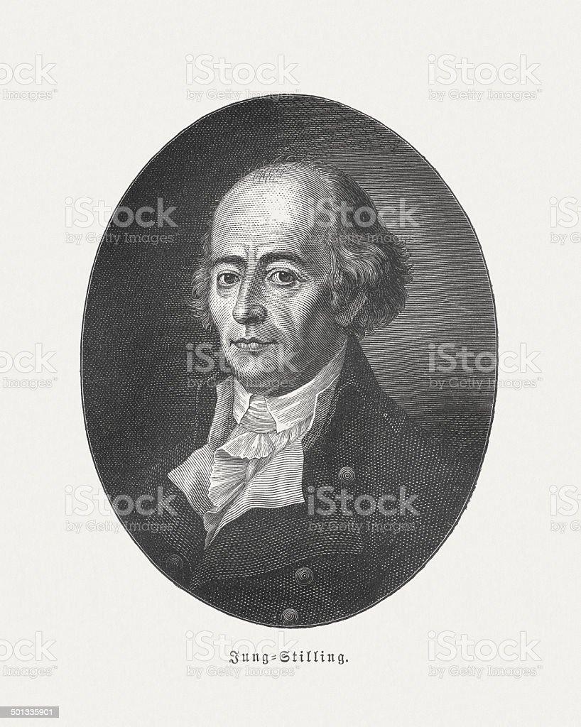 Johann Jung (1740-1817), German ophthalmologist, wood engraving, published in 1882 vector art illustration