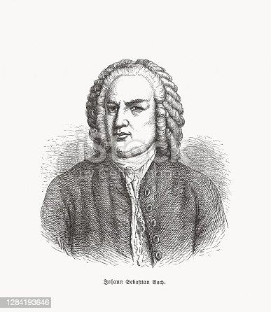 istock Johann Sebastian Bach (1685-1750), German composer, wood engraving, published in 1893 1284193646
