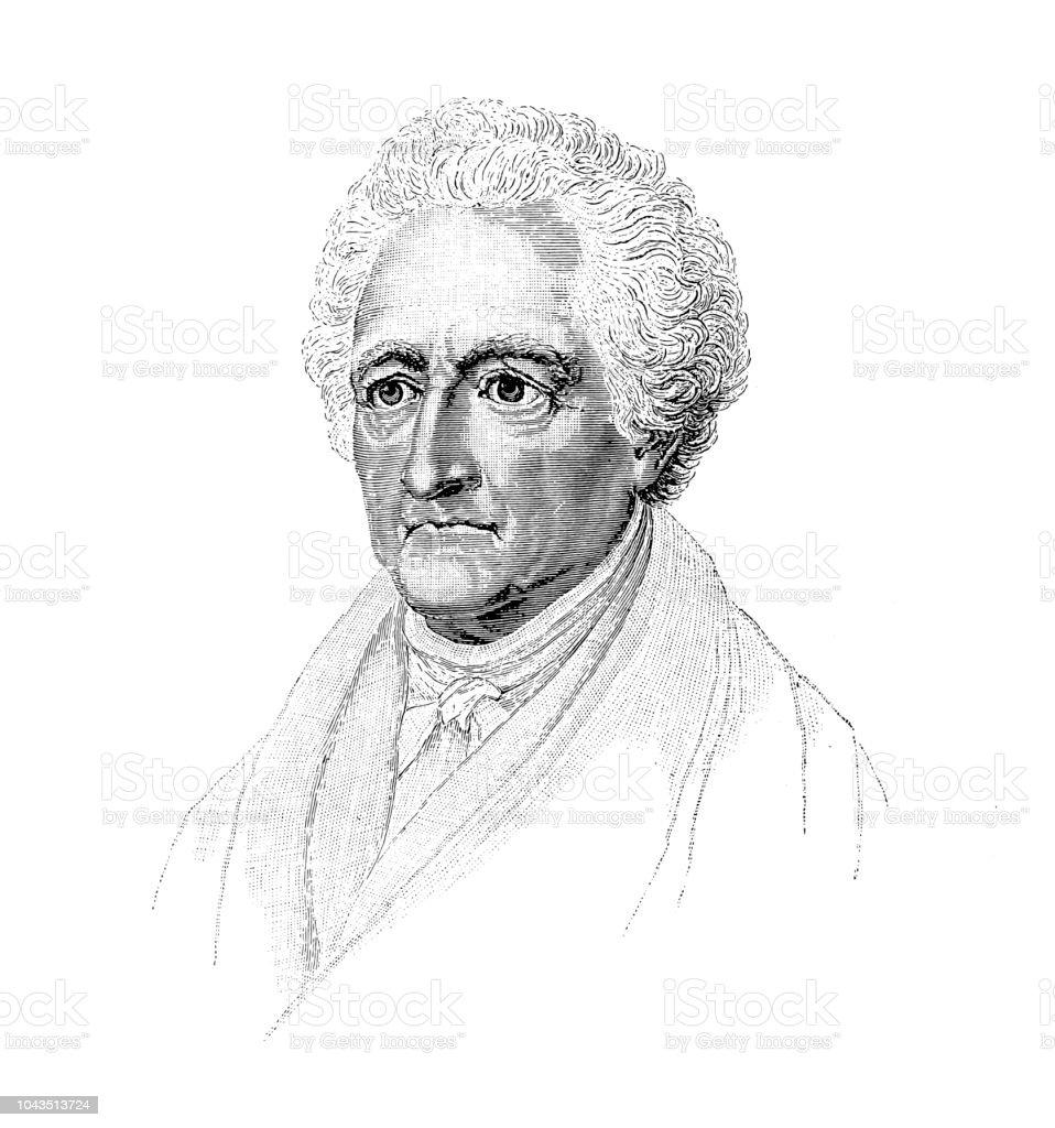 Johann Wolfgang Von Goethe German Poet Stock Illustration