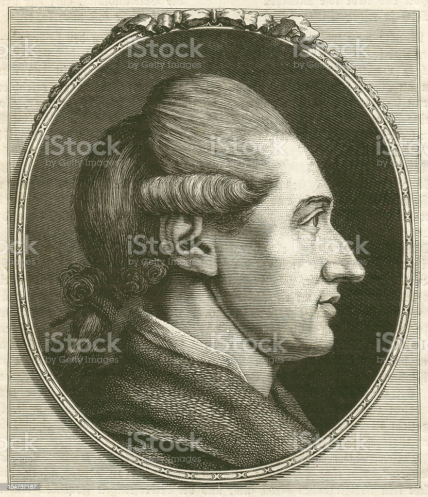Johann Wolfgang von Goethe (1749-1832), mwood engraving, published in 1879 royalty-free stock vector art