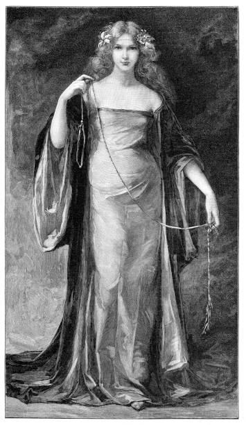 Johanna I Queen of Naples 14th century portrait vector art illustration