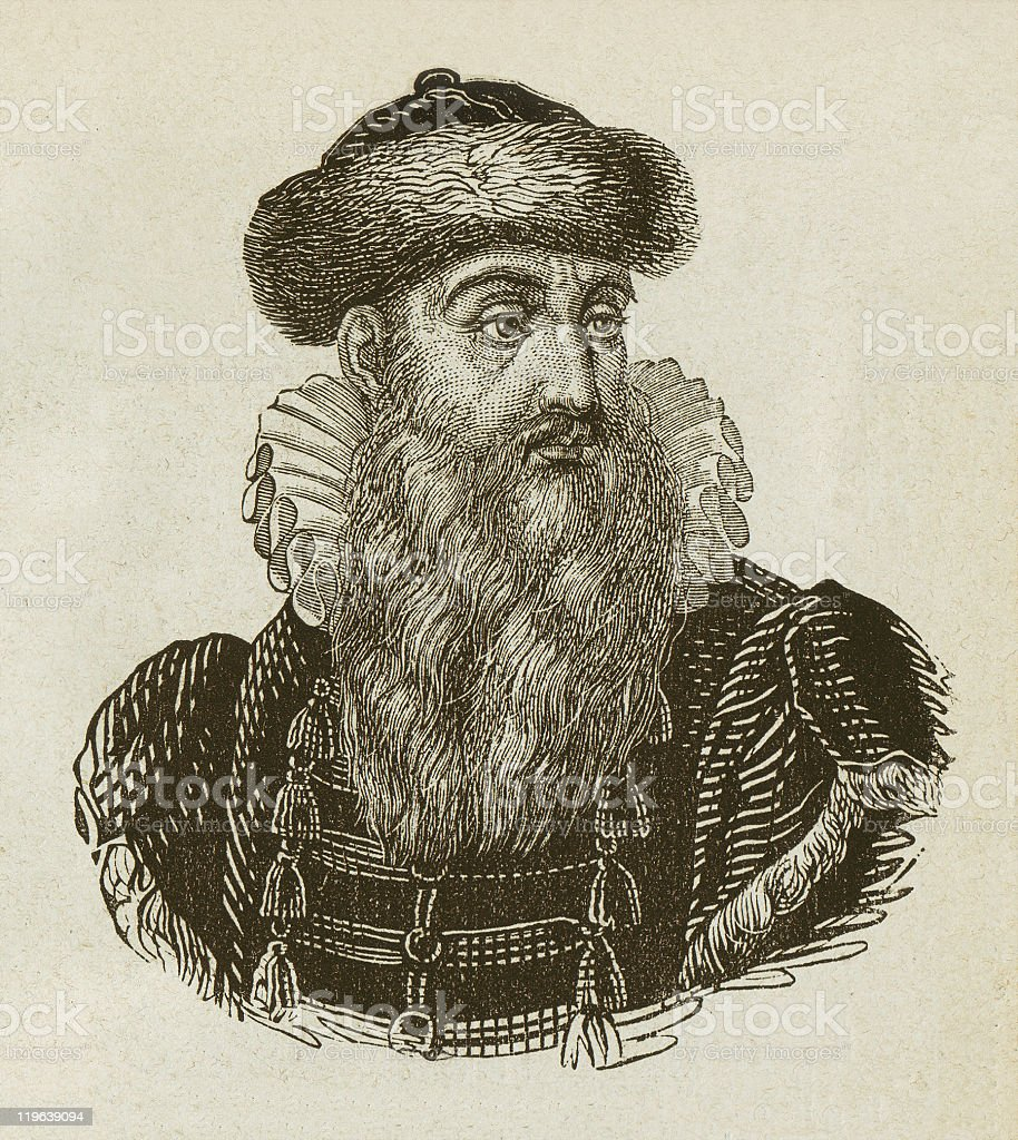 Johannes Gutenberg (c. 1400-1468), German Inventor, wood engraving, published 1877 royalty-free stock vector art