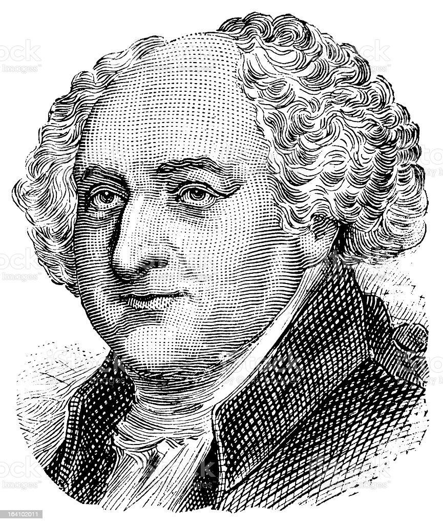 John Adams - Antique Engraved Portrait royalty-free stock vector art