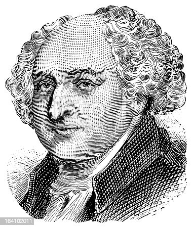 Antique engraved portrait of the 2nd president of the United States, John Adams. Isolated on white.