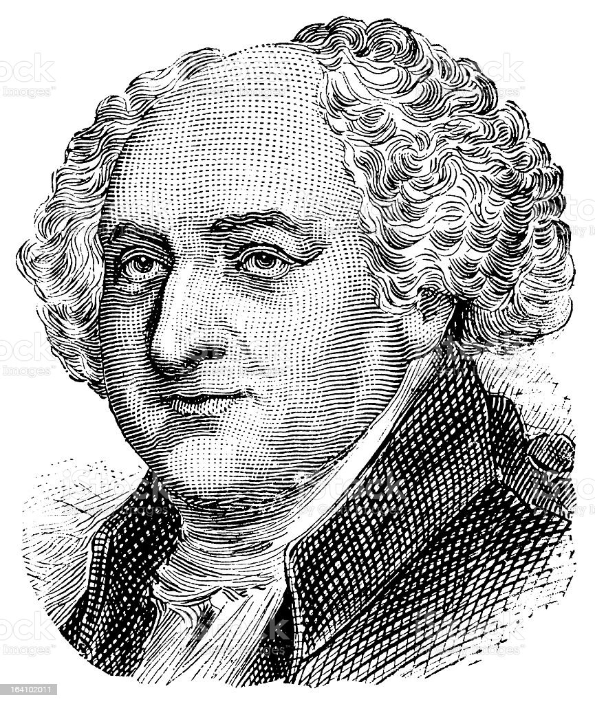 John Adams - Antique Engraved Portrait vector art illustration