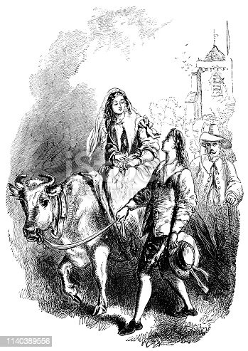 John Alden leading his white bull carrying Priscilla Mullins after their wedding in The Courtship of Miles Standish from Poetical Works of Henry Wadsworth Longfellow. Vintage etching circa mid 19th century.