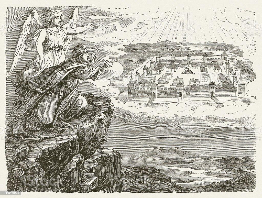 John and the new Jerusalem (Revelation 21, 1-2), published 1877 royalty-free stock vector art