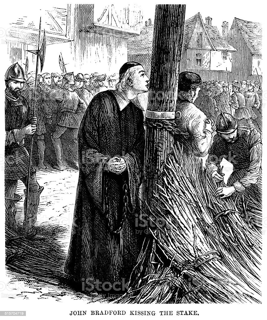 John Bradford kissing the stake before his martyrdom by fire vector art illustration
