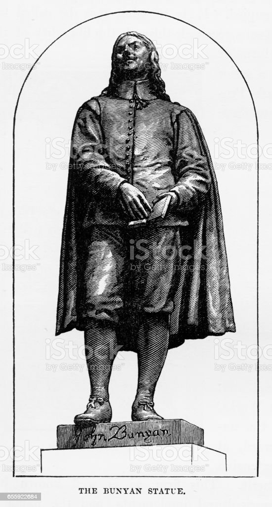 John Bunyan Portrait in Bedford, England Victorian Engraving, 1840 vector art illustration