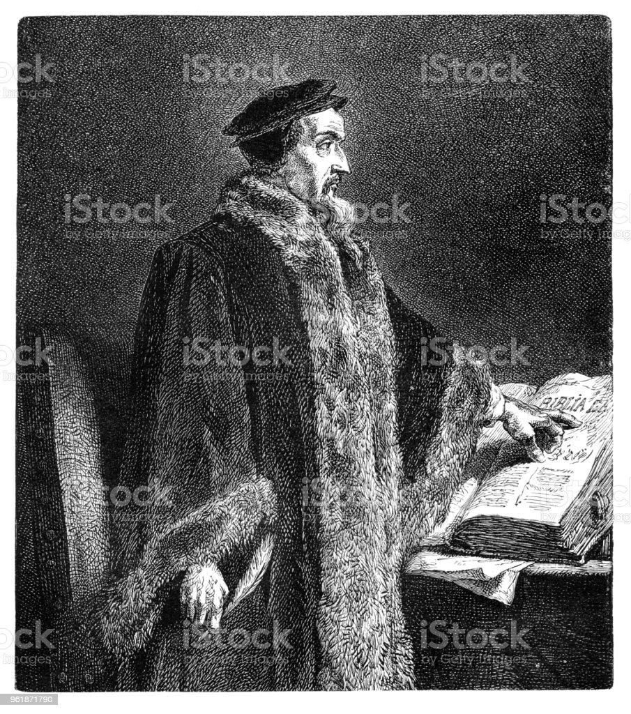 John Calvin french theologian and reformer during the Protestant Reformation vector art illustration