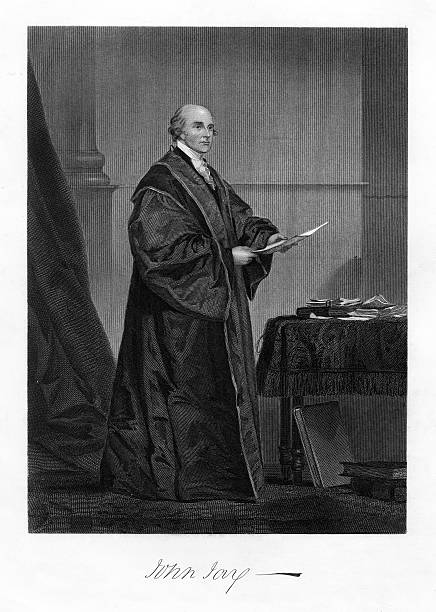John Jay Engraving Very rare, beautifully detailed full length engraved portrait of John Jay from National Portrait Gallery of Eminent American, Volume I, Published in 1862. Image also include his signature. Copyright has expired on this artwork. Digitally restored. chief justice stock illustrations