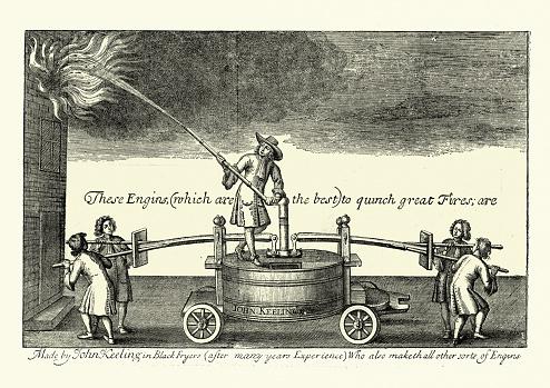 Vintage illustration of John Keeling's 17th Century early pump fire engine
