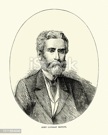 Vintage engraving of John Lothrop Motley an American author and diplomat, who helped to prevent European intervention on the side of the Confederates in the American Civil War. 19th Century