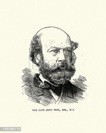 Vintage engraving of John Peel (Tamworth MP), English Victorian politician, 1870s, 19th Century