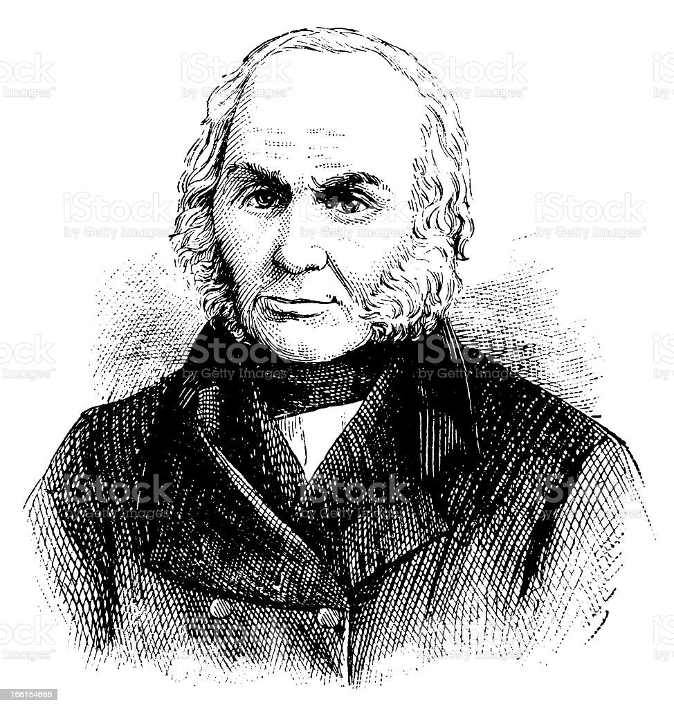 John Quincy Adams - Antique Engraved Portrait royalty-free stock vector art