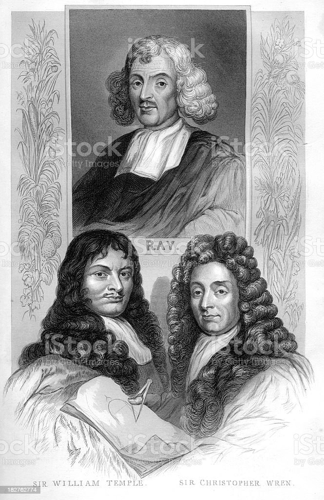 John Ray, Sir William Temple and Christopher Wren royalty-free stock vector art
