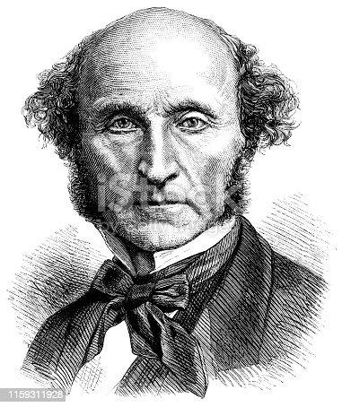 Engraving from 1873 of the Philosopher, John Stuart Mill.