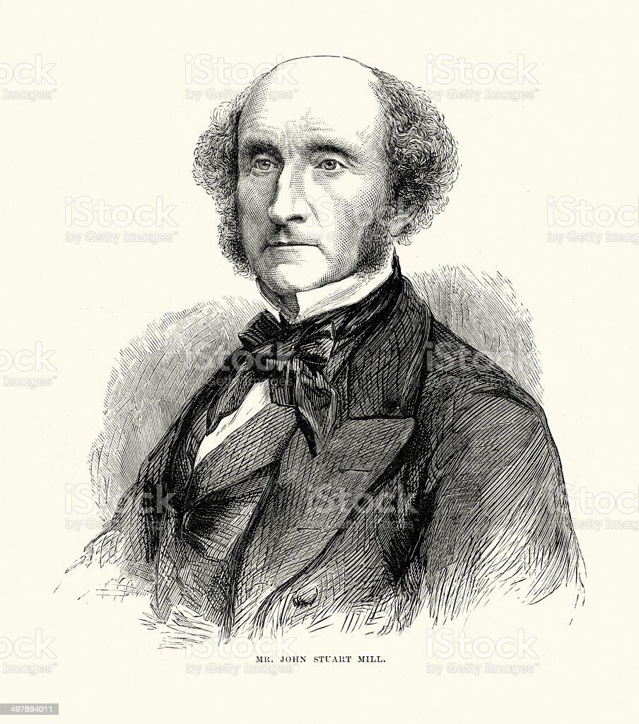 John Stuart Mill vector art illustration