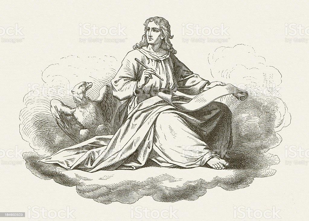 John the Evangelist, wood engraving, published in 1877 vector art illustration