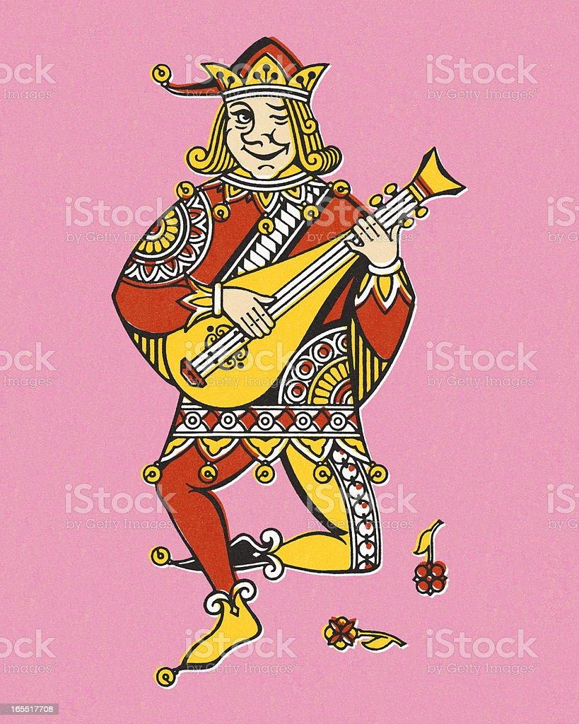 Joker Playing the Mandolin royalty-free joker playing the mandolin stock vector art & more images of activity