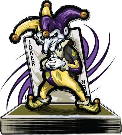 Joker Standing on a Deck of Cards