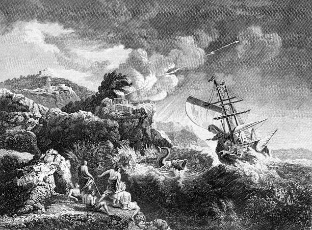 jonah and the whale - mimari illüstrasyonlar stock illustrations