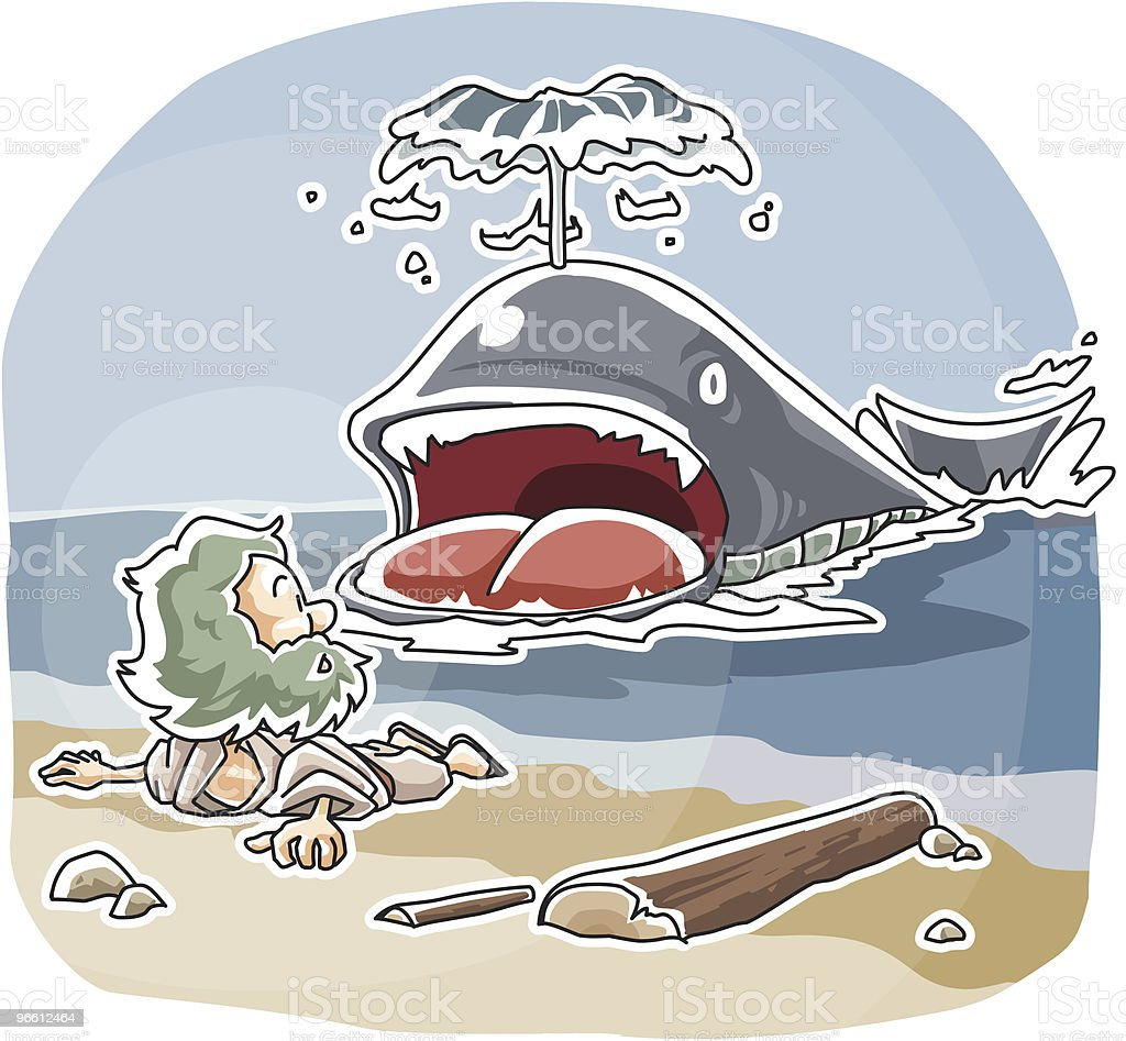 Jonah and The Whale - Royalty-free Adult stock vector