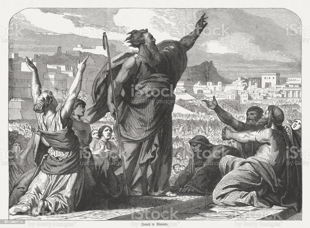 Jonah preaches in Nineveh (Jonah 3), wood engraving, published 1886 vector art illustration