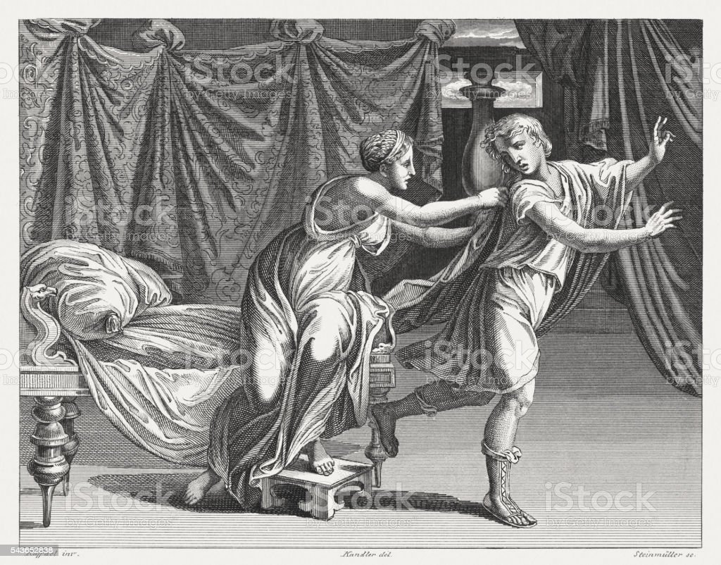 Joseph and Potiphar's Wife (Genesis 39), steel engraving, published 1841 vector art illustration