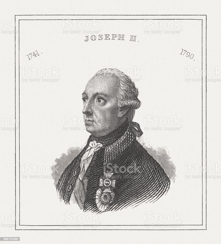 Joseph II (1741-1790), Holy Roman Emperor, steel engraving, published 1843 vector art illustration
