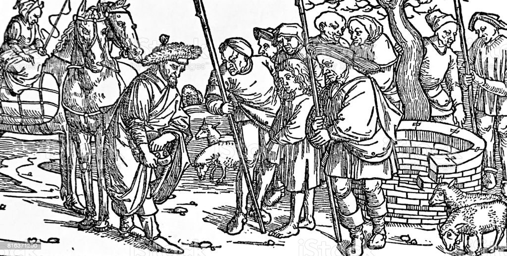 Joseph is sold by his brothers, Bible of 1494 vector art illustration