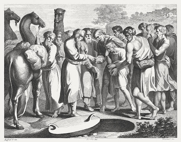 Joseph sold by his brothers (Genesis 37), published in 1841 Joseph sold by his brothers (Genesis 37). Steel engraving after the frescoes by Raphael (Italian painter, 1483 - 1520) in the Loggia at the Vatican (Apostolic Palace), published in 1841. human trafficking stock illustrations
