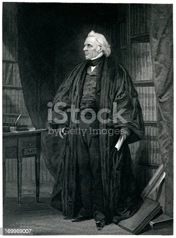 Engraving From 1867 Featuring The American Supreme Court Justice, Joseph Story.  Story Lived From 1779 Until 1845.
