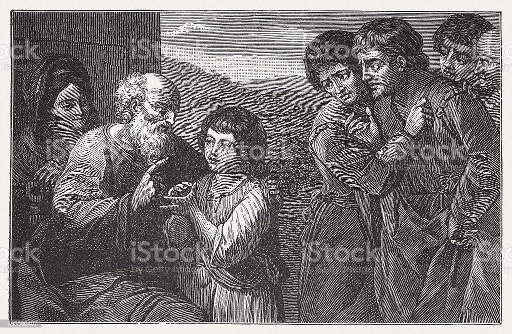 Joseph telling his Dream (Genesis 37), wood engarving, published 1881 royalty-free stock vector art