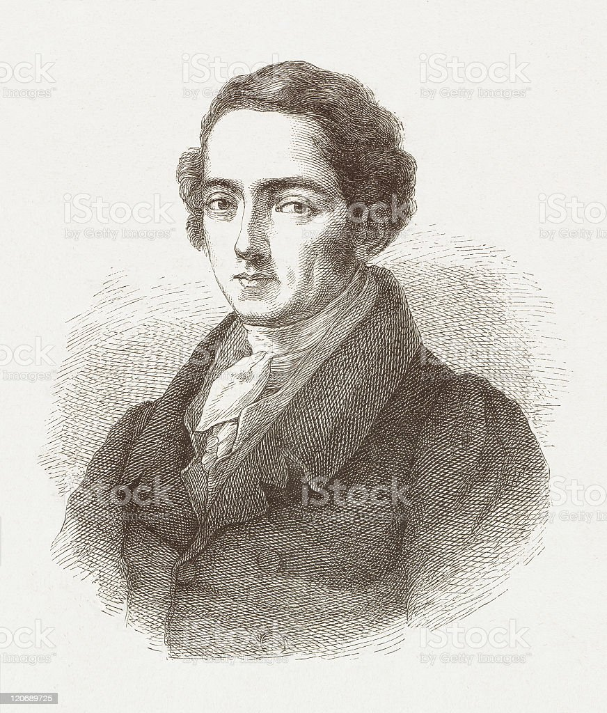 Joseph von Fraunhofer (1787-1826), German physicist, wood engraving, published 1877 royalty-free stock vector art