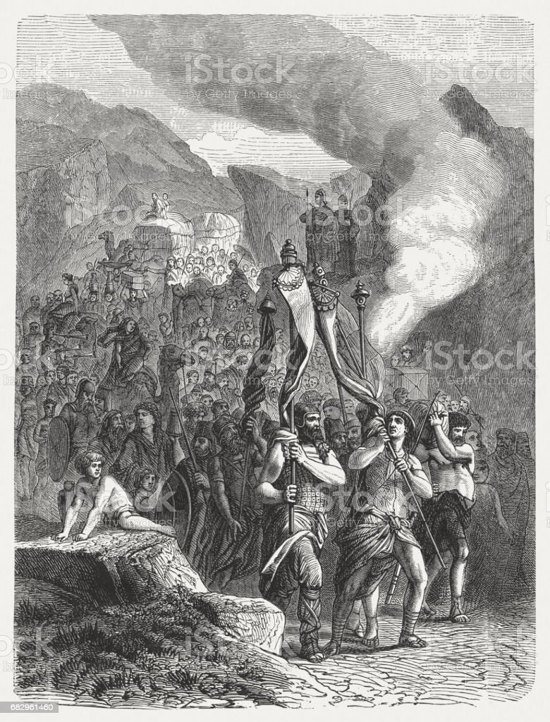 Joshua and the Israelites Enter the Promised Land, published 1880 vector art illustration