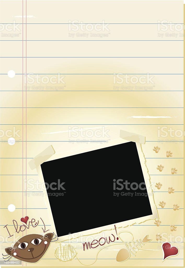 Journal Page - I love cats royalty-free stock vector art