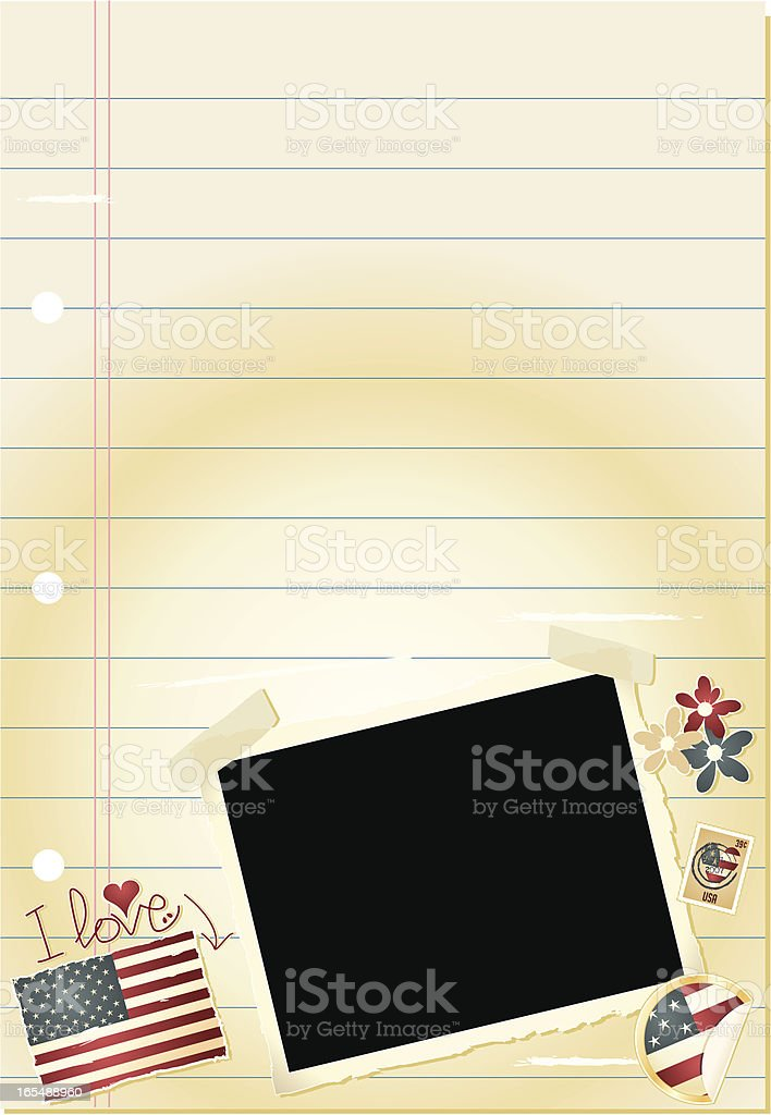 Journal Page - I love the USA vector art illustration