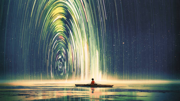 journey to outer space boy rowing a boat in the sea of the starry night with mysterious light, digital art style, illustration painting fantasy stock illustrations