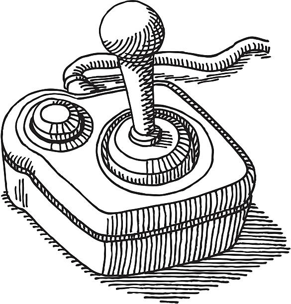 Joystick Drawing Hand-drawn vector sketch of a classic Joystick. Black-and-White sketch on a transparent background (.eps-file). Included files: EPS (v8) and Hi-Res JPG. game stock illustrations