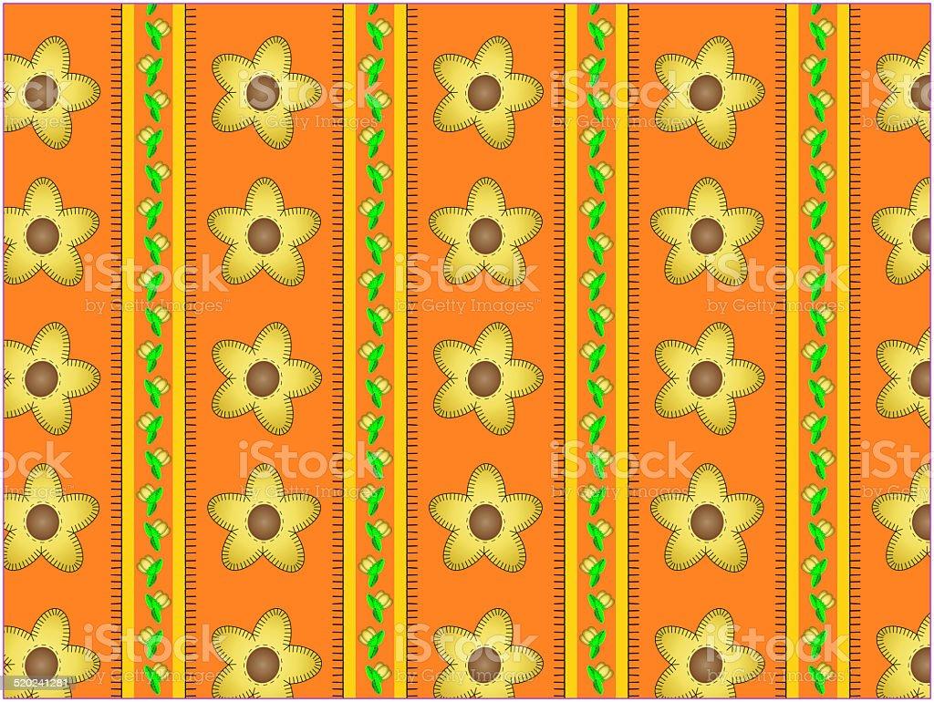 Jpg Floral Orange Striped Wallpaper Background Stock Illustration